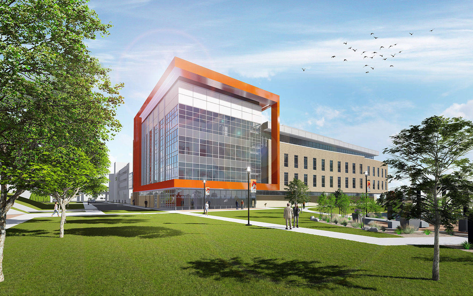 North Hall will include a bridge to the existing building, and a future link across all buildings for a second floor internal walking path.