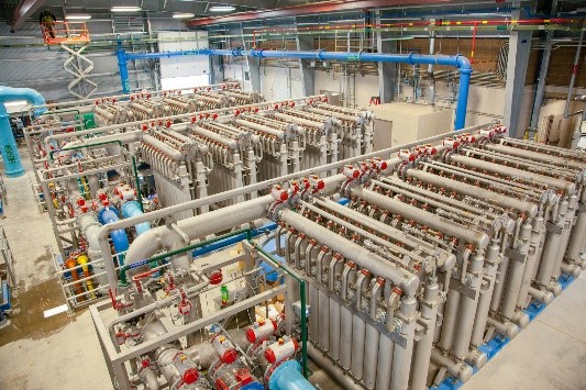 The 560 ceramic membrane filters at the RHWPF represent the first application in a drinking water system in the U.S.