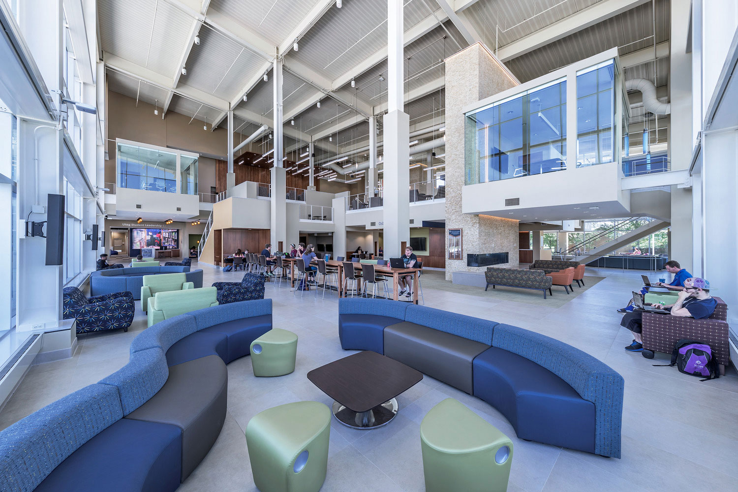 There are lounge areas throughout the union that create a sense of community for the students. Photo courtesy of Dewberry. Mark Ballogg, photographer.