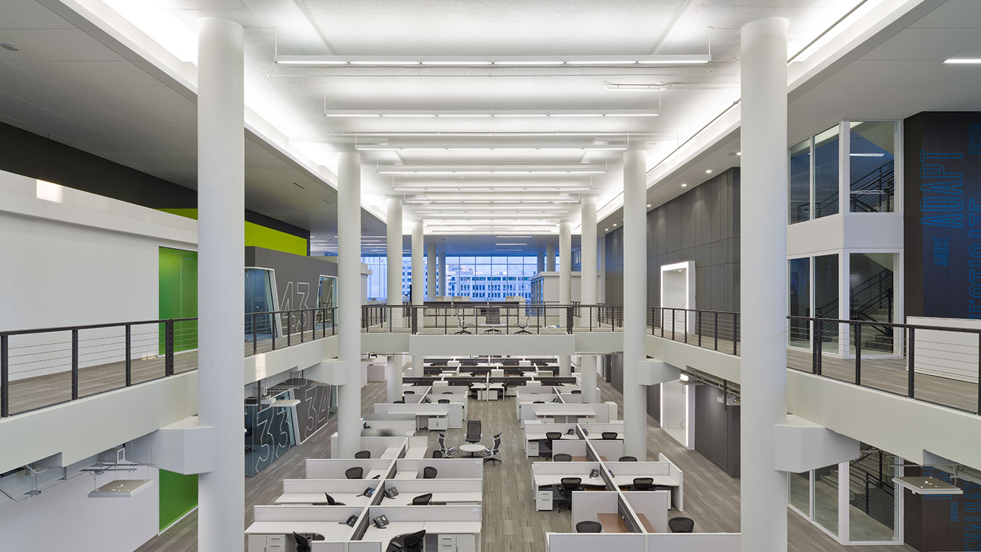 The new NPR Headquarters houses a 110,00-SF data center, office and administrative spaces, a fitness center, a full-service kitchen and staff cafeteria.