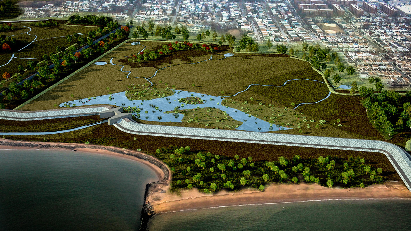 We designed a conceptual plan to restore the stormwater retention area to its natural state after Superstorm Sandy.