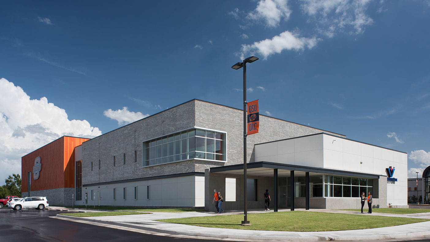 Uniquely designed entrances identify the separate functions of academics and allied health.
