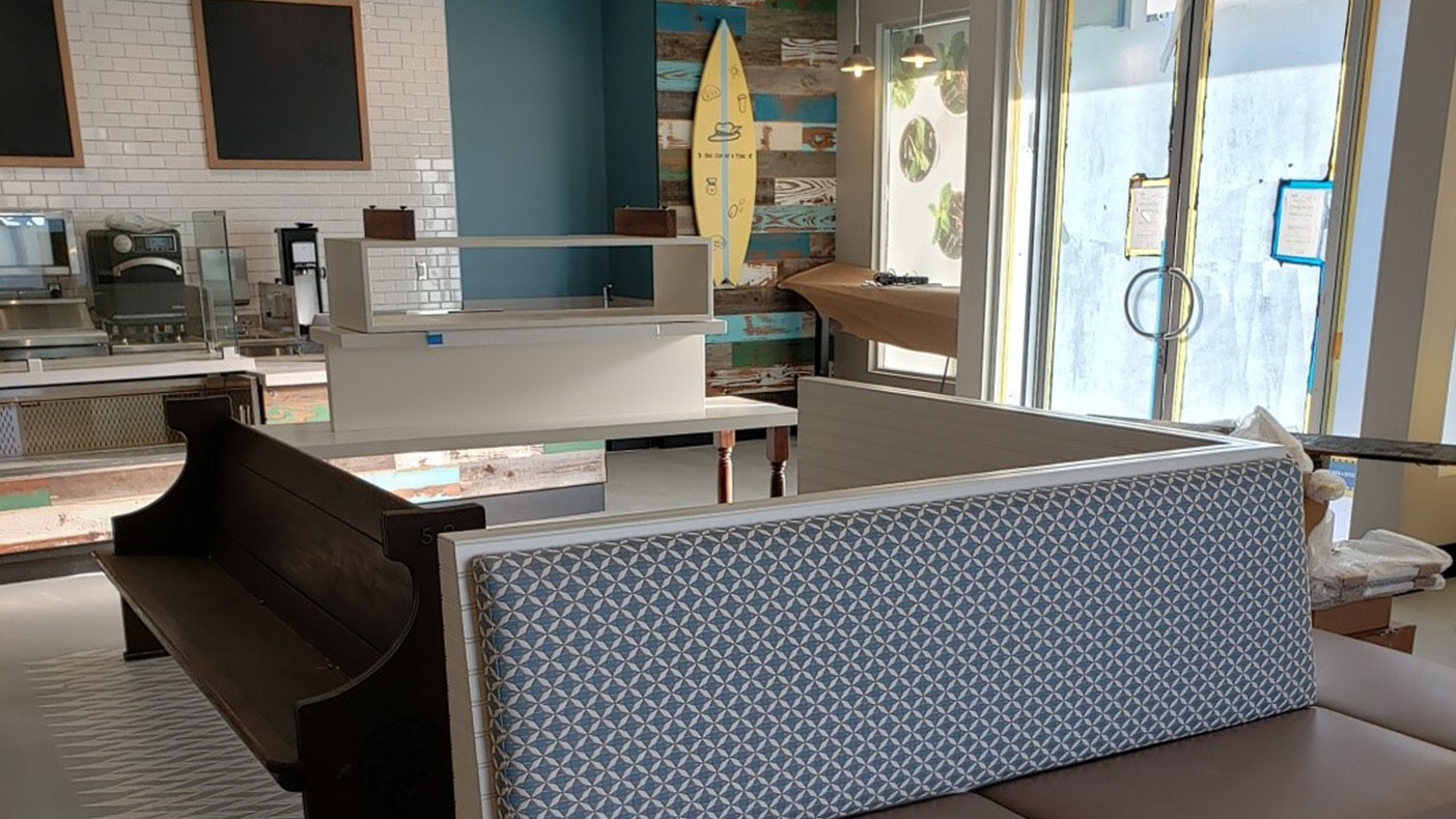 The Long Beach, California, office uses shades of blue and beige to mimic colors of the ocean.