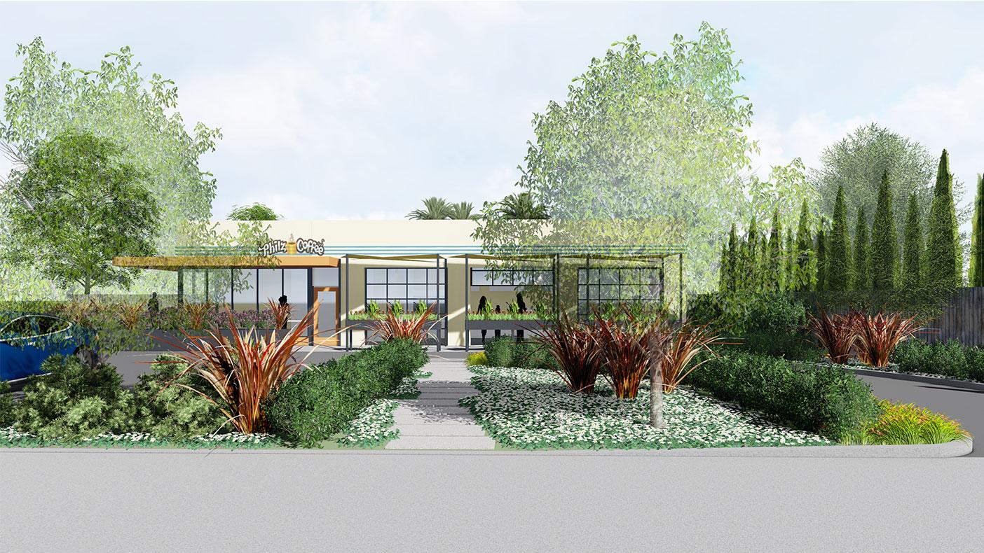 Exterior rendering of the Orange, California, location.