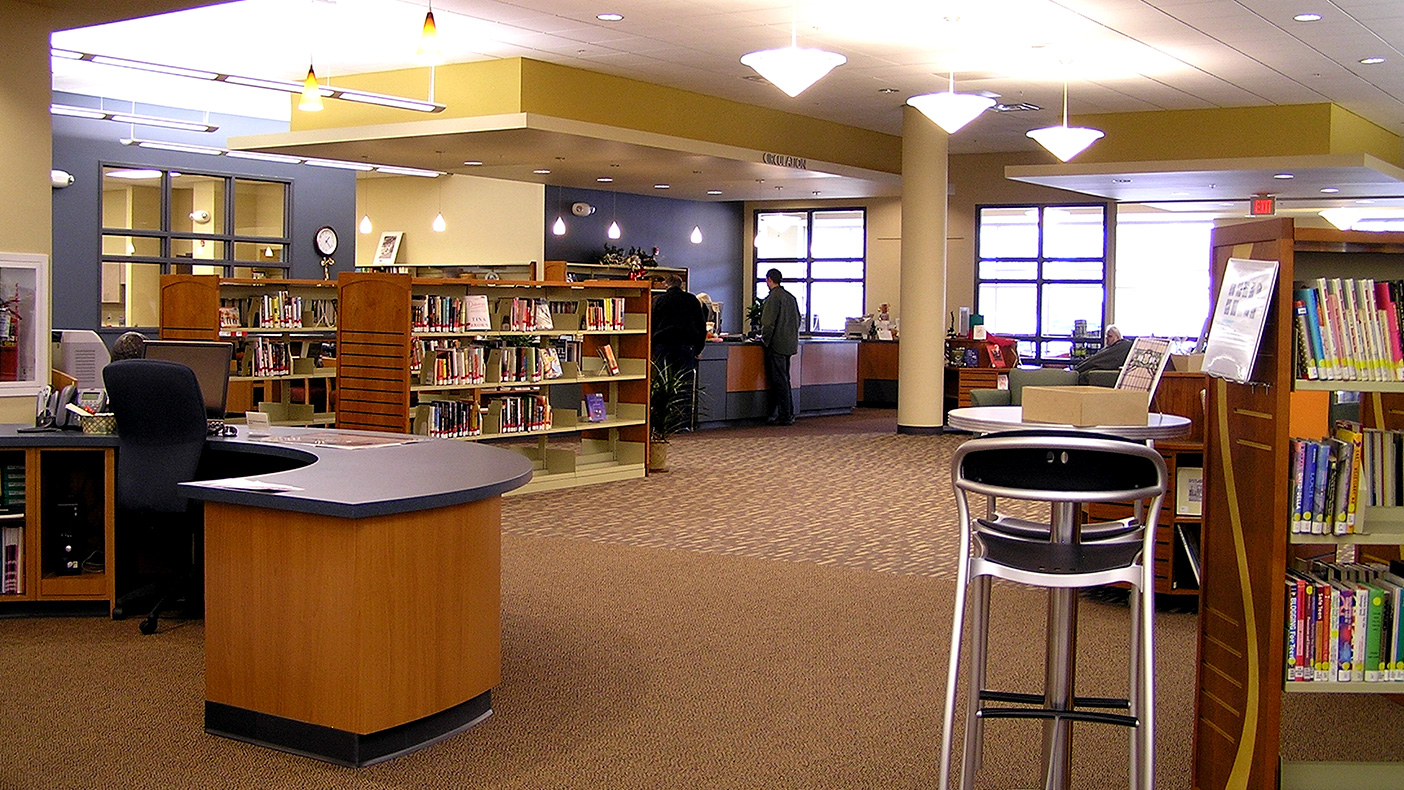 Clear lines of sight between the circulation desk, children's department, reference desk, and public computer areas are now possible. New amenities such as individual study rooms and a family computer room are available.