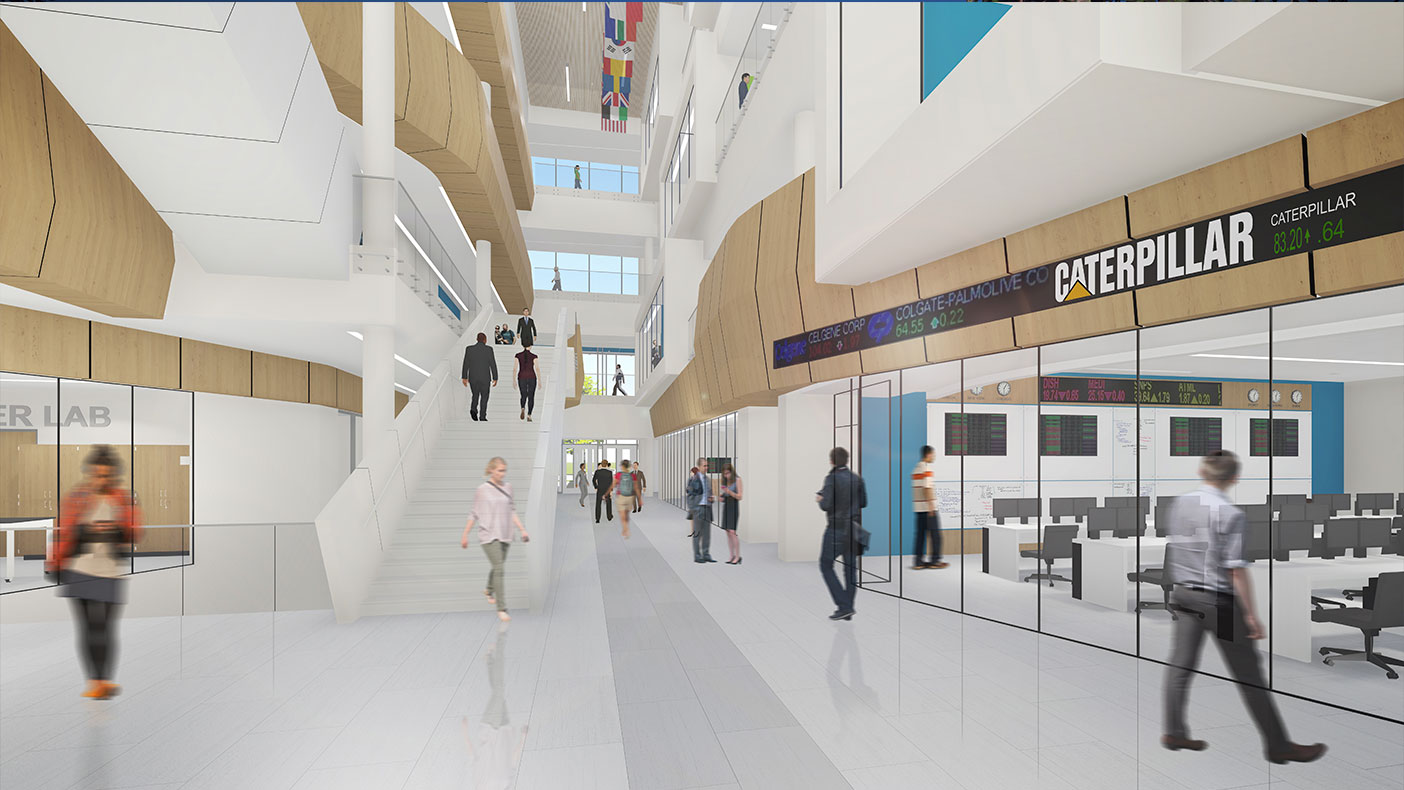 The building's interior soaks in natural daylight through its transparent south façade and sun control systems. A 3-D sun diagram helps the owner identify various strategies for solar control on the west, south, and east sides.