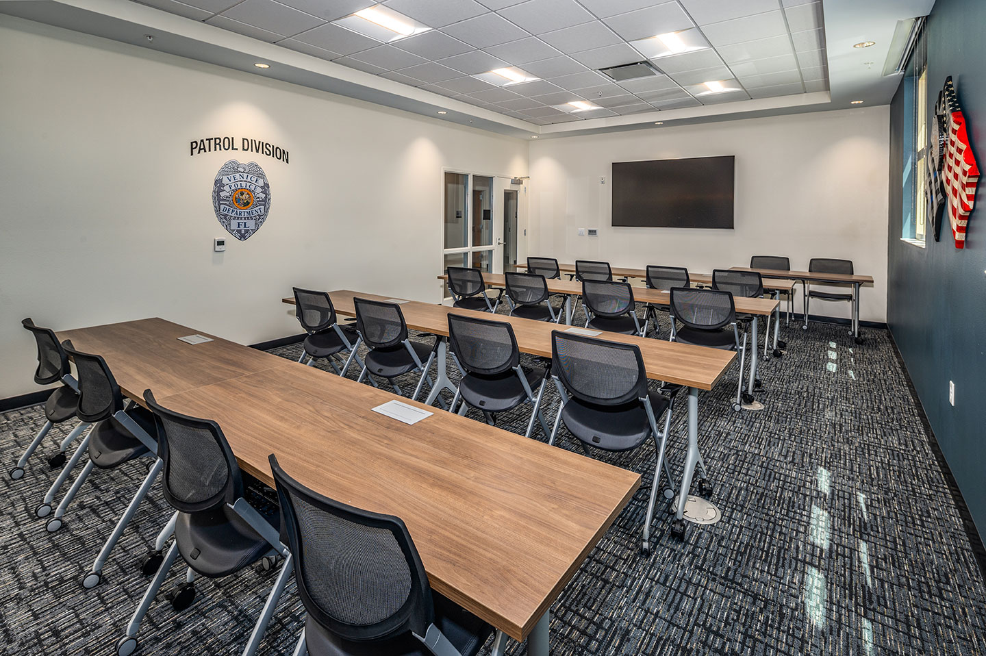 The facility features multipurpose rooms and a media room.