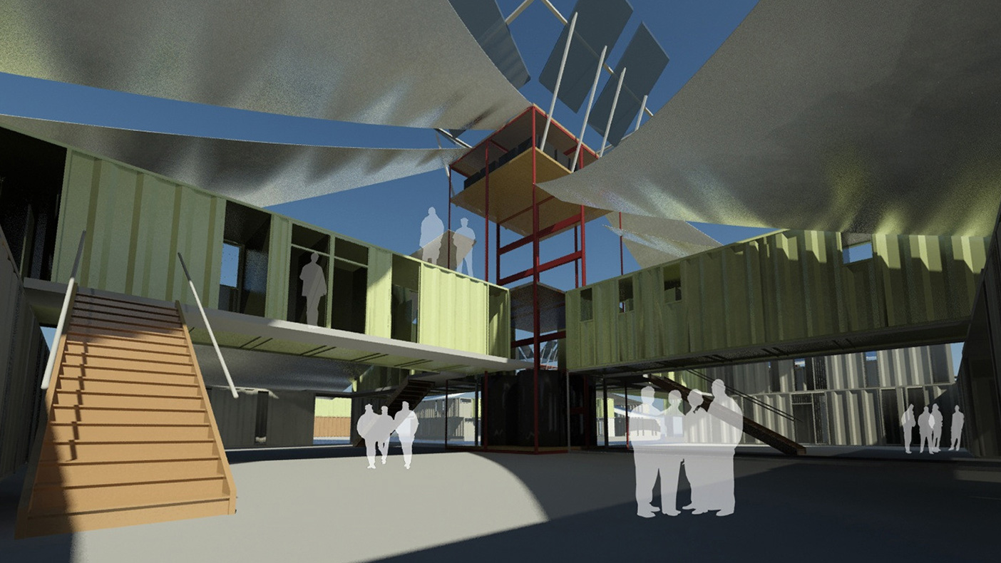 As many as four containers can be stacked vertically to form an energy core, with water harvesting and solar devices, helping to create a self-sustaining prison complex.