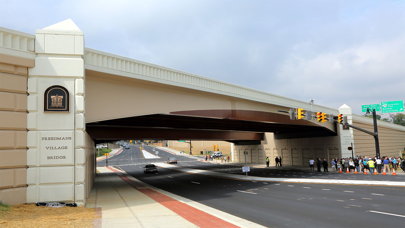 The interchange was reconfigured to improve intersection layouts and access, and improve safety and capacity on Washington Boulevard and Columbia Pike.