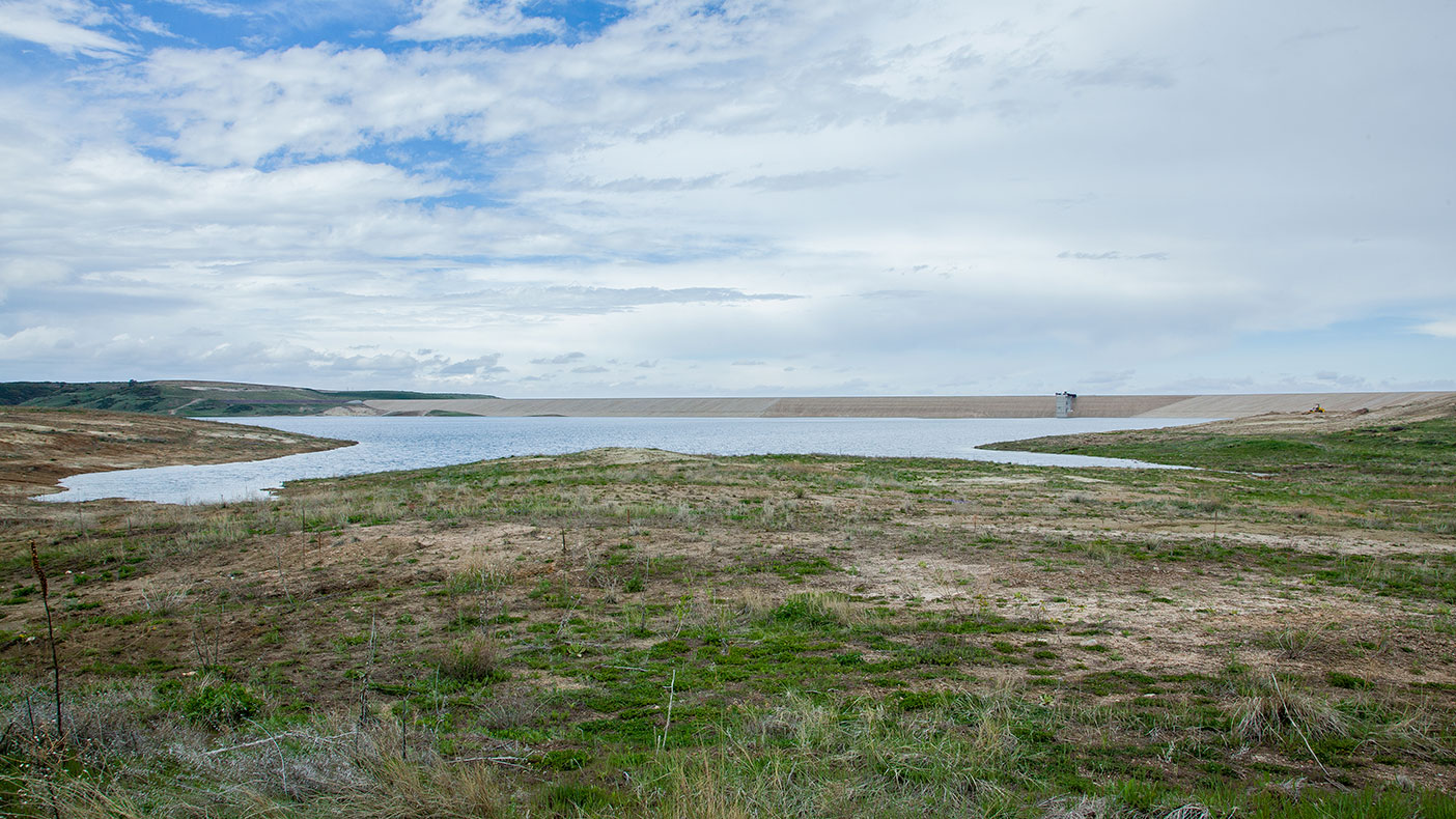 The primary source of raw water comes from the nearby Rueter-Hess Reservoir, which can store 75,000 acre feet of water. The amount of water stored in the photo above is 16,300 acre feet.
