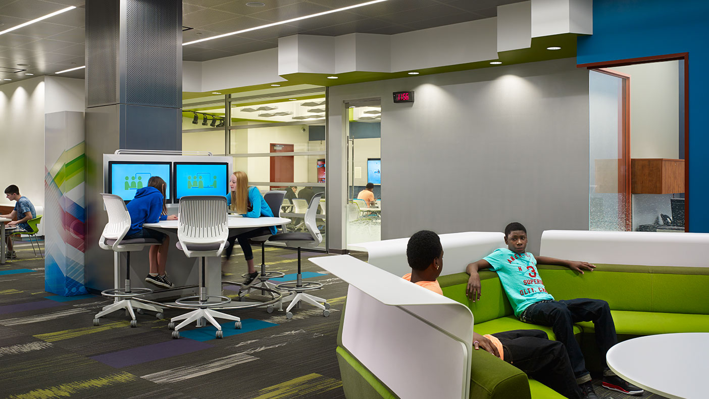The main area has comfortable lounge furniture for listening to music, power stations to recharge devices, digital white boards, and a separate dedicated sound system.