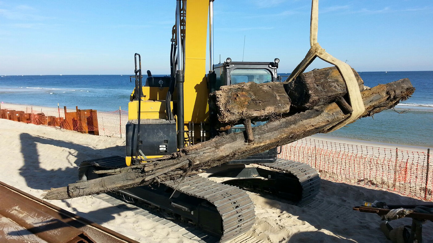 A mid-19th century sailing vessel was discovered during steel wall installation.