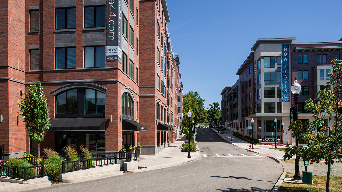 The LEED- inspired plan includes street patterns consistent with historic Morristown, contextual landscape design, and green streets, which will lead to a new municipal park also designed by Dewberry.