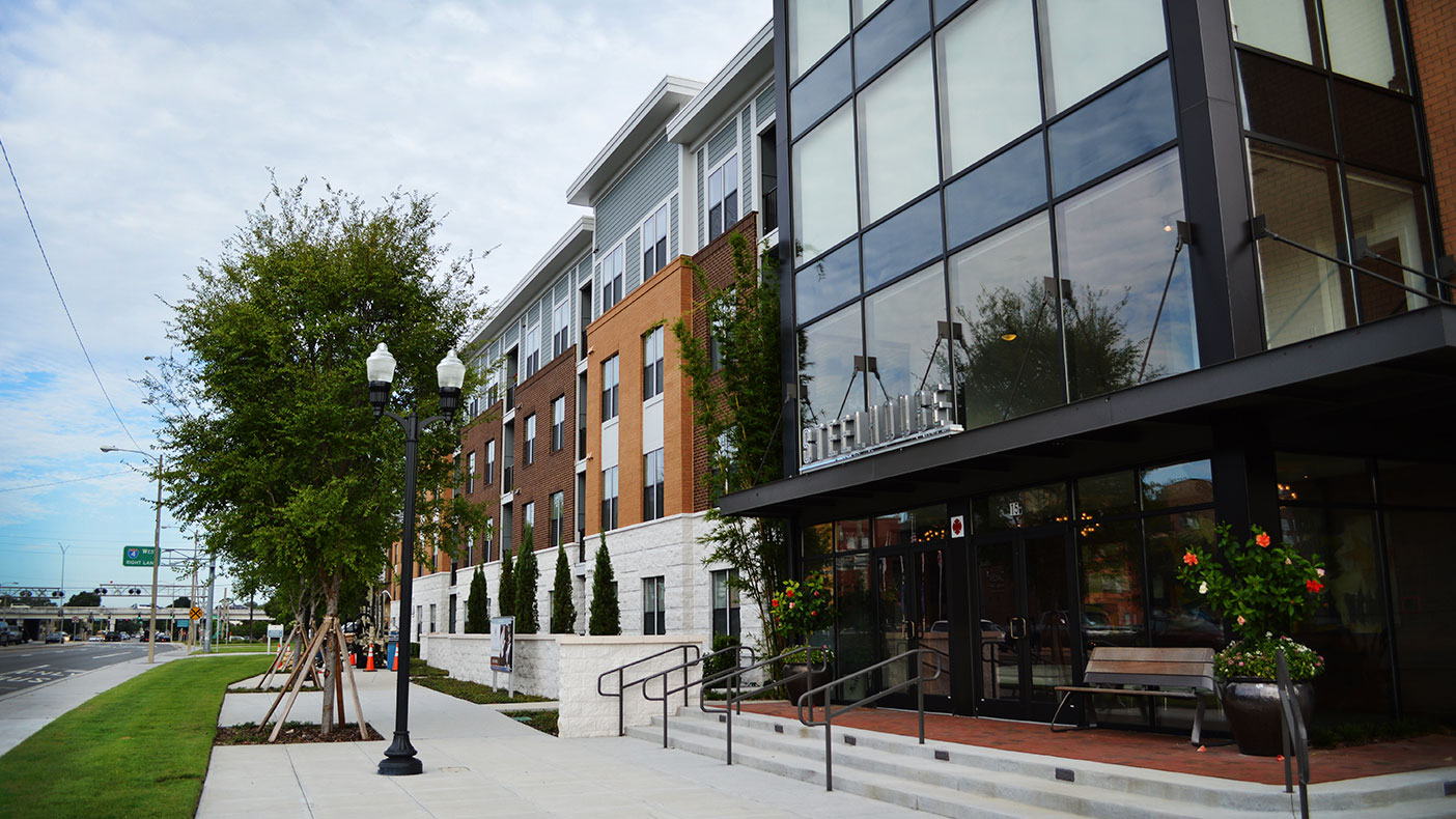 This urban infill project is located a quarter-mile from the SunRail commuter train's Central Station and easy pedestrian and bicycle access to work, shopping and civic functions.