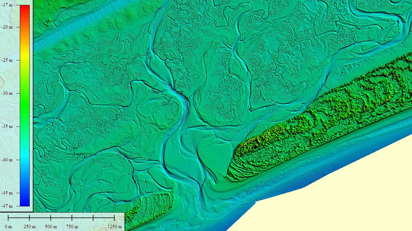 We developed a method using ECognition and ArcGIS to automate breakline definition of the land/water interface. An image of Bear Inlet, North Carolina, is color coded for elevation (ranging from -17 to -47m) based on an ellipsoid datum.