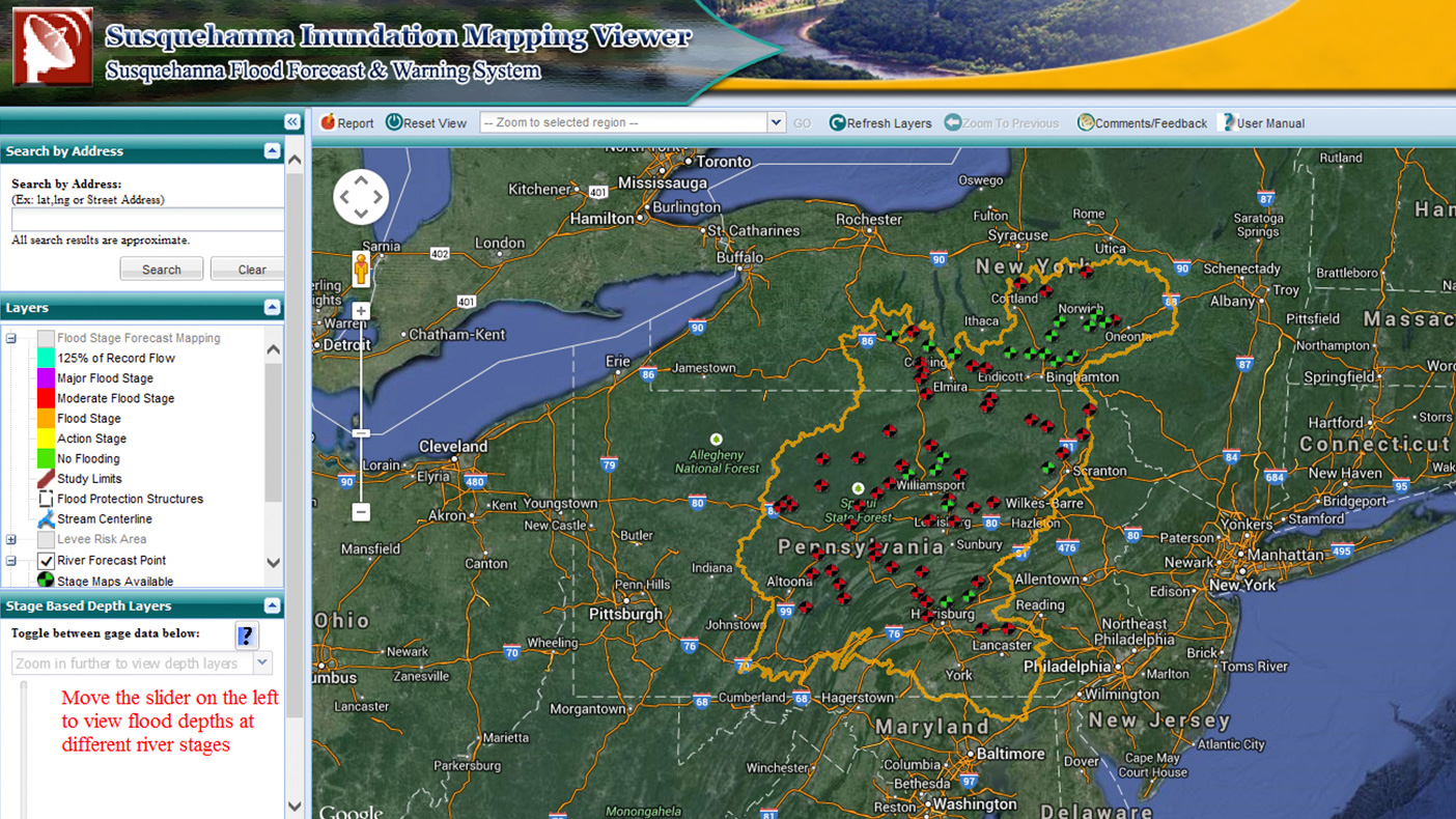 Built around an ArcGIS server, the Susquehanna Inundation Mapping Viewer (SIMV) is a web-based tool that displays hazard information on an easy-to-use Google Map interface that allows users to see potential flood risks to personal property.