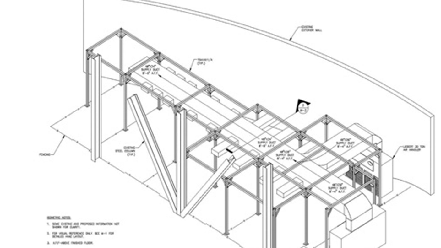 We designed a steel support structure that supports both cabling and HVAC duct work without blocking the existing fire suppression system or existing equipment. The structural framing was designed for seismic loading.