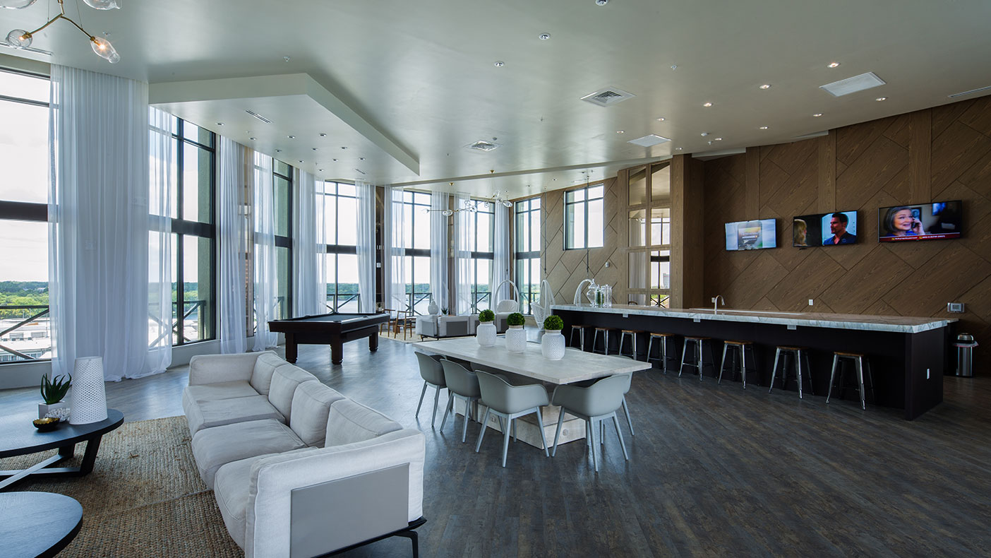 The ninth floor is home to a clubhouse and a gym.