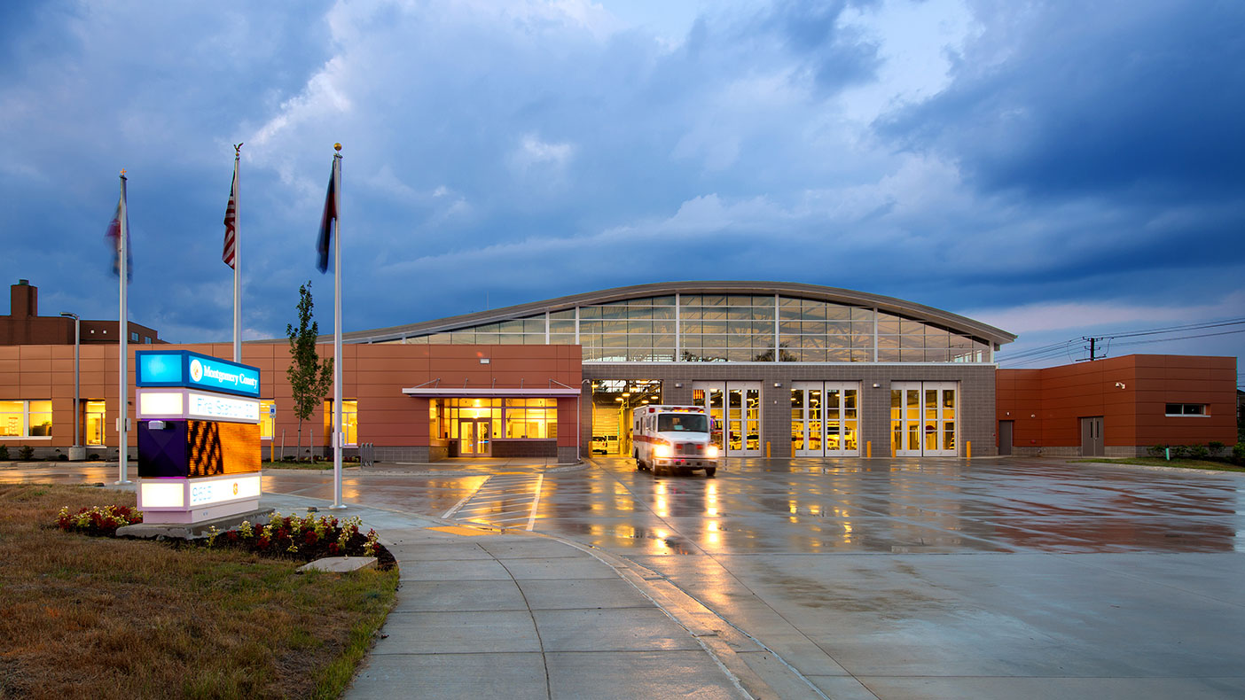 The fire station contains four bays and was designed to LEED Silver standards.