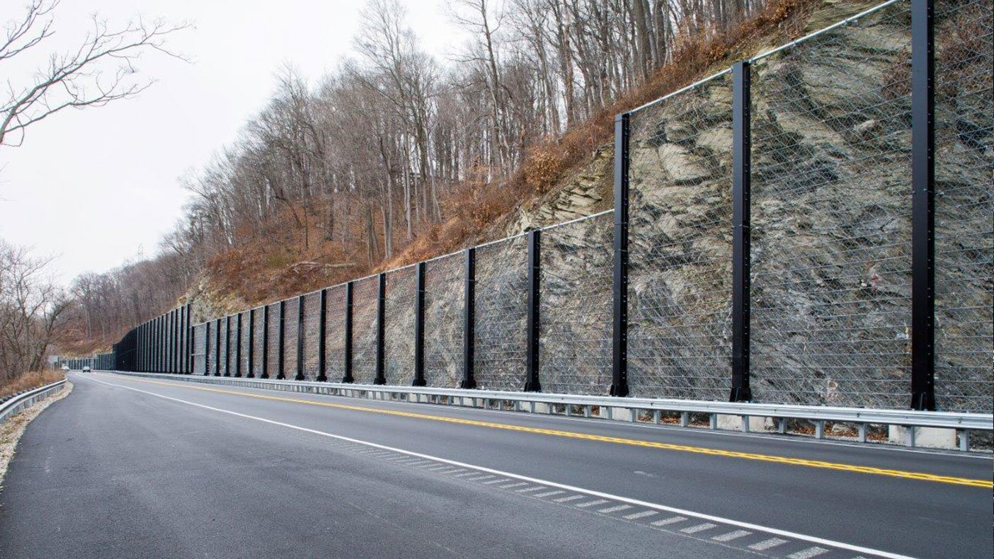 The U.S. Route 46 Rockfall Protection Fence, the first of its kind in design and scale, will improve public safety by preventing rockfall onto U.S. Route 46.