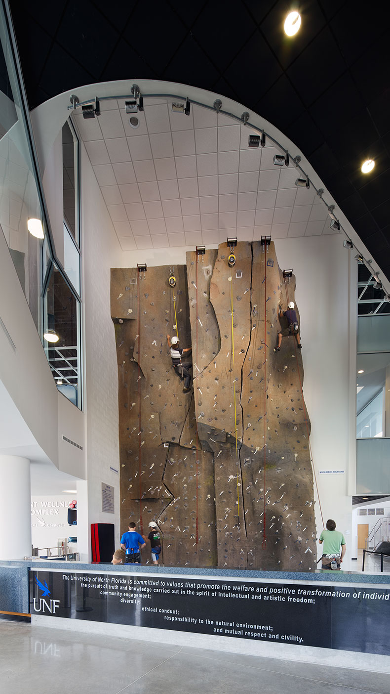 The facility offers a 32-foot climbing wall, known as the Osprey Cliff, that features the university's mission etched onto the glass that surrounds it.