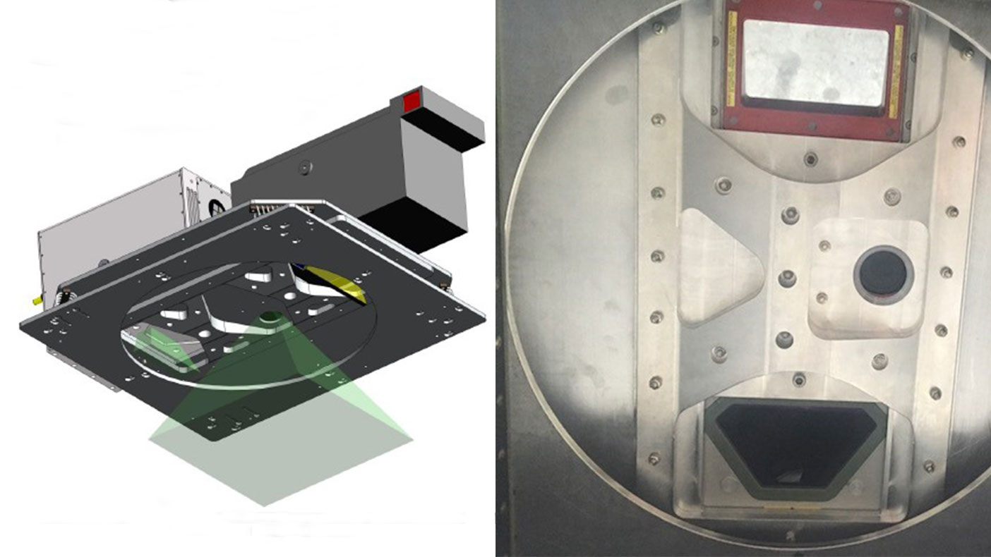 L: Engineering model illustrating the install of the lidar and imagery sensors (image courtesy Leading Edge Geomatics). R: Sensors installed on the mounting plate in the Piper Navajo aircraft.