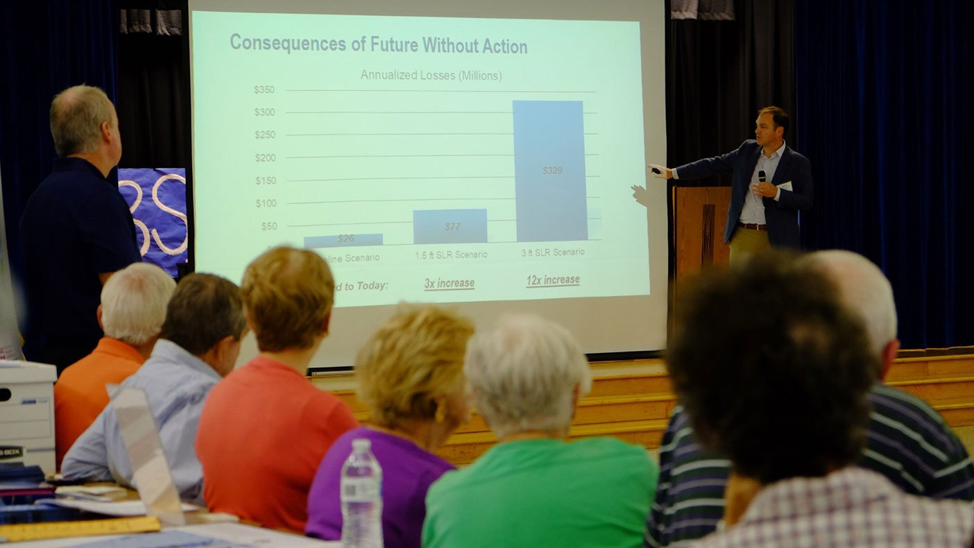 Brian Batten presenting on sea level rise impact projections and adaptation options to Virginia Beach residents.
