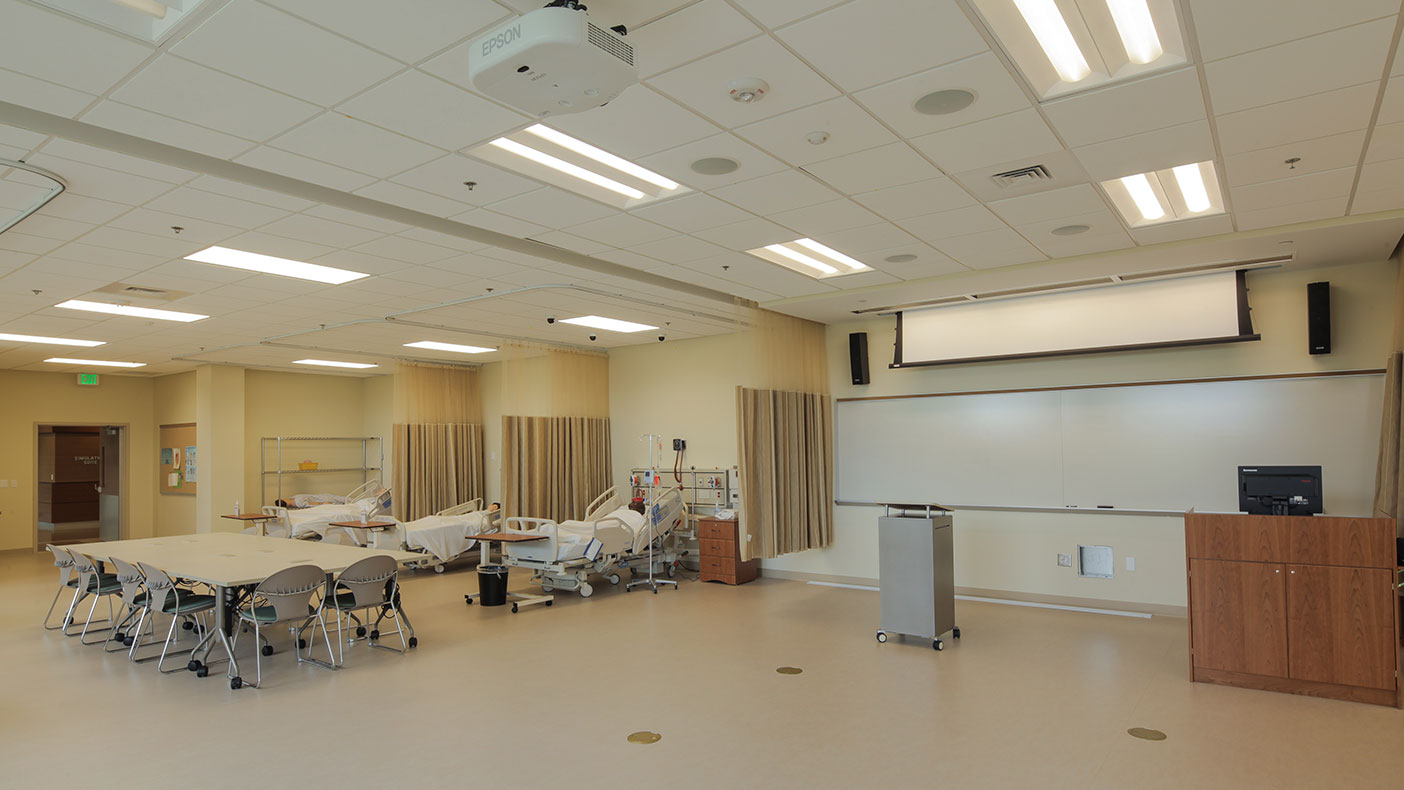 Our building engineering designs accounted for several nursing-simulation rooms, a hospital-sized radiography lab, and EMS ambulance bays.