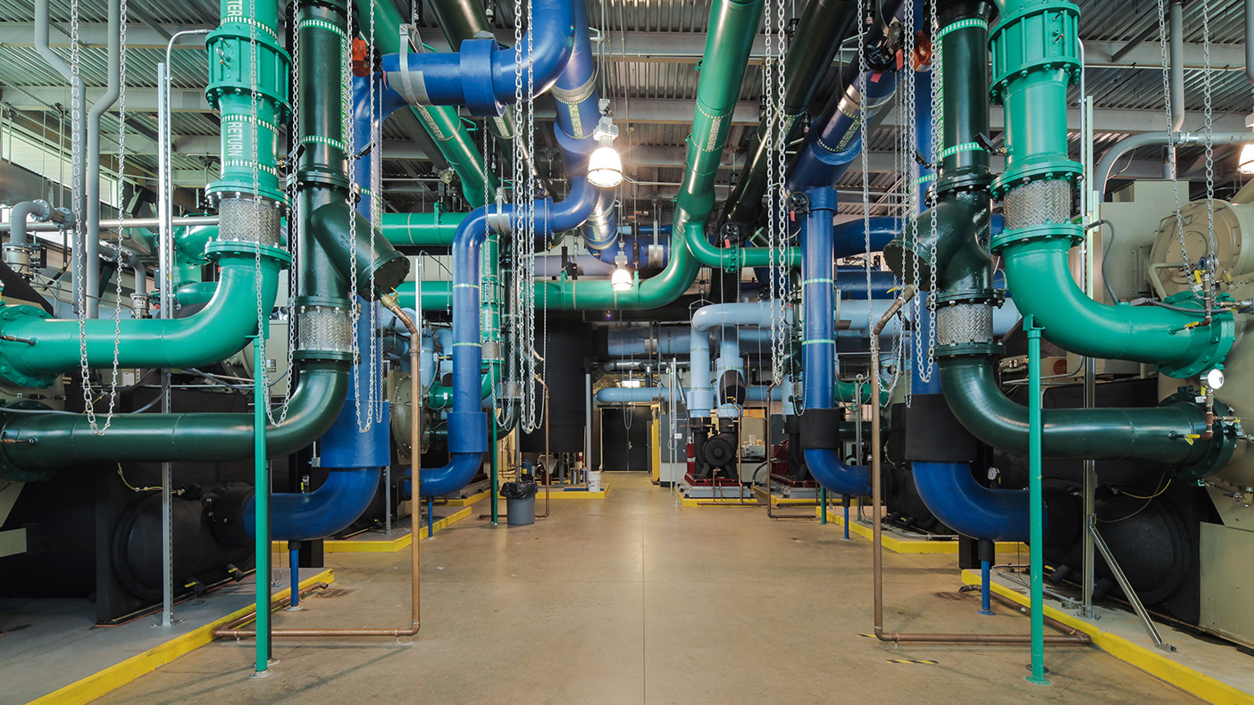 The chiller generator plant serves the entire hospital with six 1,500-ton energy efficient chillers with variable primary pumping system utilizing pressure independent valves on all 85 AHUs.