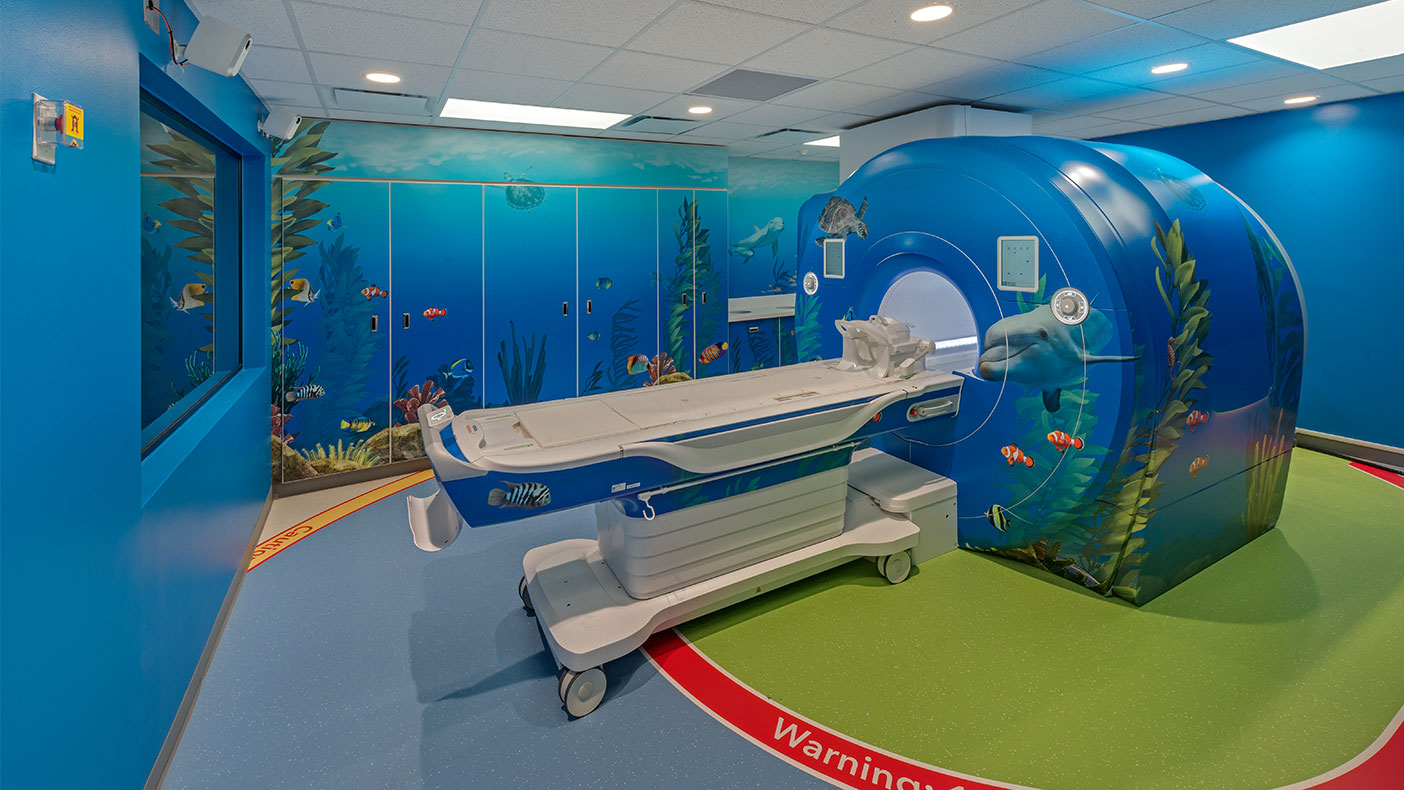 The new MRI suite incorporates an underwater theme used in this wing of the hospital to help keep the children entertained and distracted during their visit.