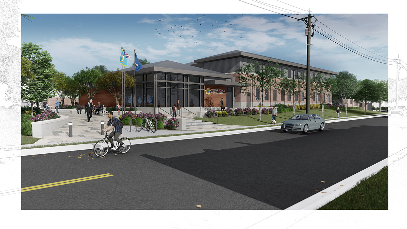 This exterior rendering shows a northwest view from Locust Street.