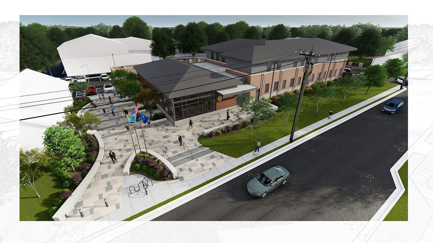 This exterior rendering shows an aerial view of the facility.
