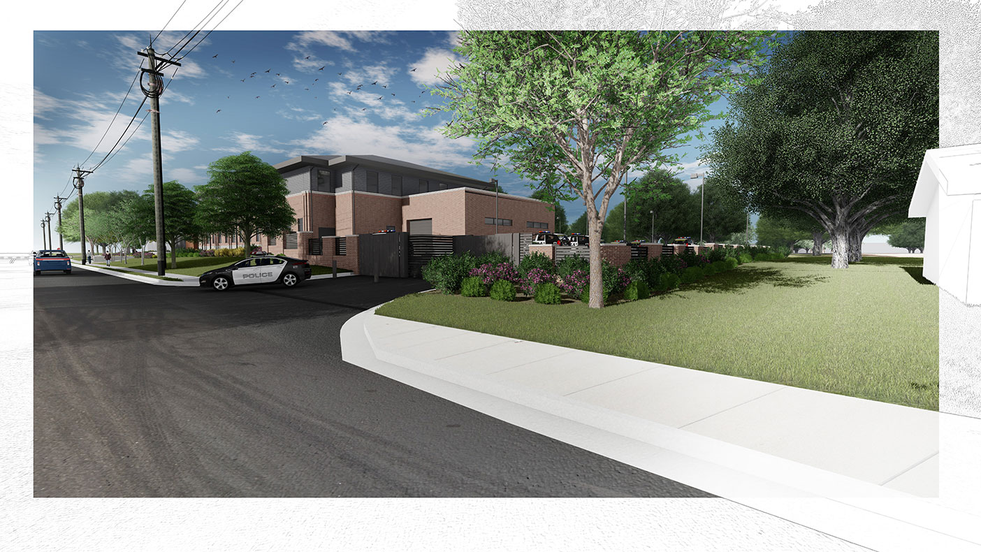 This exterior rendering shows a southwest view from Locust Street, including access to secured parking.