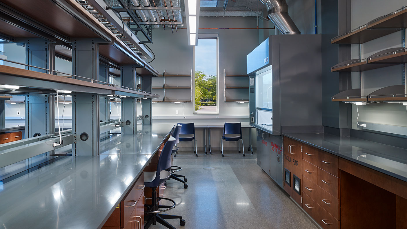 In addition to the laboratories, this 57,500-square-foot building includes a student lounge, student offices, researcher offices, a seminar room, and a unit operations lab.